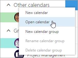 Cuplikan layar menu konteks untuk Kalender Lainnya, dengan Buka Kalender dipilih.