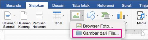 Pada tab Sisipkan, Gambar dari File disorot.