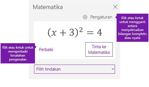 Persamaan di panel tugas matematika