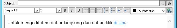 Menentukan Layar Pesan Email setelah menyisipkan variabel