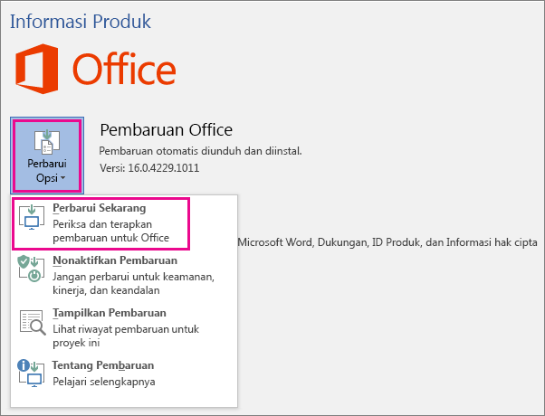 Memeriksa pembaruan Office di Word 2016 secara manual