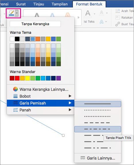Tab Format Bentuk dengan Kerangka Bentuk disorot dan item menu Garis putus-putus.