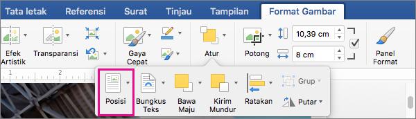 Klik Posisi untuk mengatur posisi relatif tabel terhadap teks sekitar.