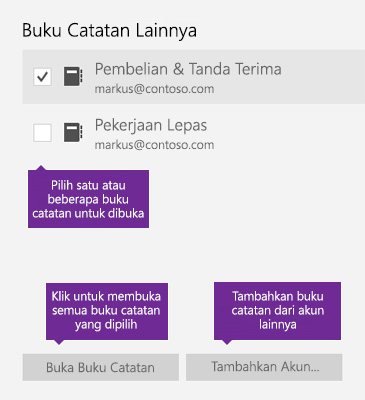 Cuplikan layar jendela Buku Catatan Lain di OneNote