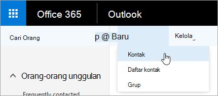 Cuplikan layar menu konteks untuk tombol 'Baru', dengan 'Kontak' yang dipilih.