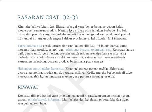 Contoh Marka air DRAF pada halaman dengan teks
