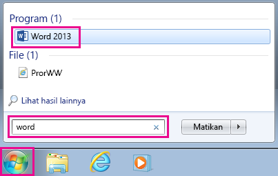 Mencari aplikasi Office di Windows 7