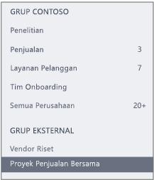 Cuplikan layar bilah navigasi Yammer yang menampilkan bagian Grup Eksternal