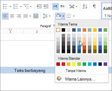 Menerapkan warna bayangan ke teks
