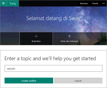 Cuplikan layar paduan dari layar Selamat Datang di Sway dan panel entri topik Mulai Cepat.
