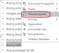 Pilih istilah, klik kanan, kemudian pilih Pencarian Cerdas