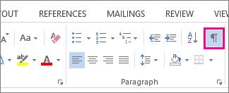 Perintah Perlihatkan/Sembunyikan pada tab Beranda di Word 2013.