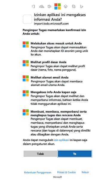 Cuplikan layar memperlihatkan importir izin