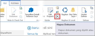 Menghapus sebuah aplikasi dari pustaka Aplikasi untuk SharePoint di Katalog Aplikasi