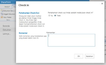 Kotak dialog CheckIn