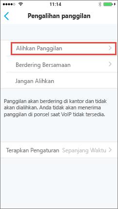 Layar Penerusan panggilan Skype for Business untuk iOS