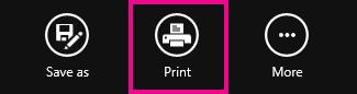 Tombol cetak pembaca Windows 8