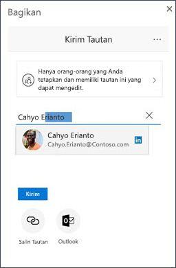 Dialog Bagikan di OneDrive dengan kontak LinkedIn yang disarankan
