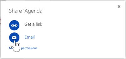 Cuplikan layar dari memilih Email dalam kotak dialog Bagikan di OneDrive