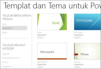 Templat dan tema PowerPoint Online