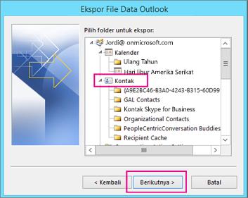 Menggulir ke atas dan pilih folder kontak yang ingin Anda ekspor.