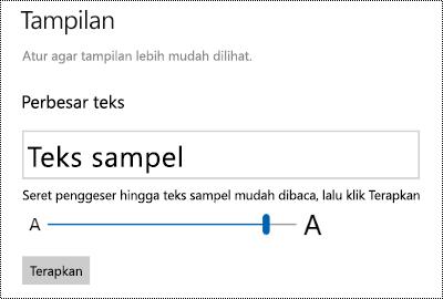 Pengaturan kemudahan akses Windows memperlihatkan slider membuat teks lebih besar pada tab tampilan.