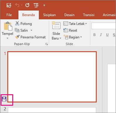Memperlihatkan ikon yang mengindikasikan orang lain berkolaborasi di slide di PowerPoint 2016