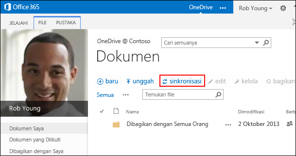 Pustaka OneDrive for Business di Office 365