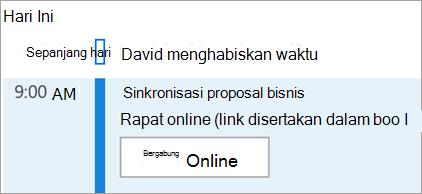 Memperlihatkan tombol Bergabung dalam Online untuk rapat