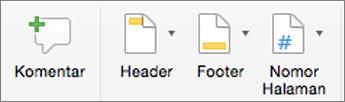 Pada tab Sisipkan, klik Header atau Footer