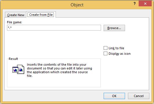 Membuat dari tab File di kotak dialog objek