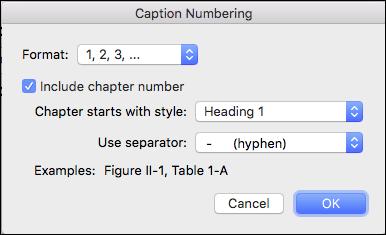 Menambahkan nomor bab secara otomatis ke keterangan Anda di Word
