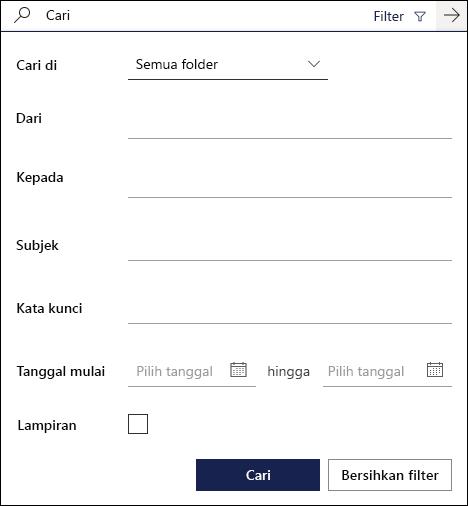 Kotak pencarian di Outlook di web memperlihatkan filter yang tersedia