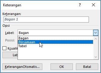 Gunakan dialog keterangan untuk mengatur opsi keterangan gambar, tabel, atau persamaan.