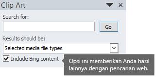 Mengaktifkan opsi Sertakan Konten Bing memberikan lebih banyak hasil pencarian untuk dipilih.
