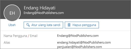 Pengguna ini memiliki satu alamat utama dan dua alias.