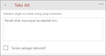Dialog teks Alt untuk bentuk di PowerPoint untuk Windows Phone.