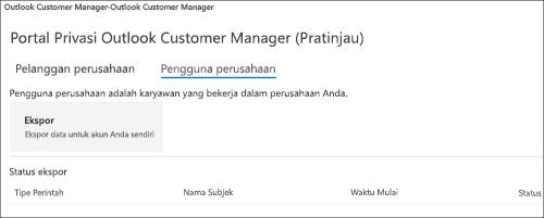 Cuplikan layar: Manajer pelanggan Outlook Ekspor data karyawan