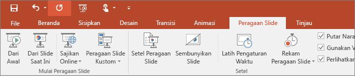 Memperlihatkan tab Peragaan Slide pada pita di PowerPoint