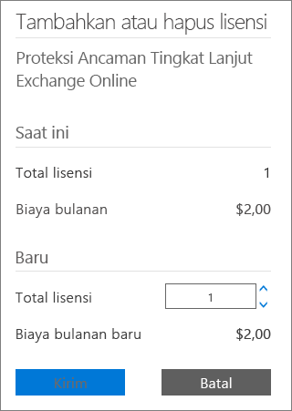 Kotak Total lisensi dan tombol kirim pada kotak dialog Menambahkan atau menghapus lisensi.