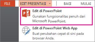 Mengedit di perintah PowerPoint