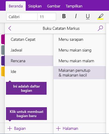 Cuplikan layar tombol Tambahkan Bagian di OneNote