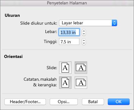 Opsi Pengaturan Halaman di PowerPoint untuk Mac - PowerPoint untuk Mac