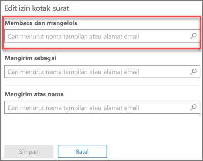 Cuplikan layar: Menambahkan pengguna untuk membaca dan mengelola kotak surat pengguna ini