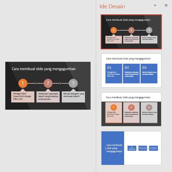 Designer menyarankan cara-cara untuk mengubah teks menjadi SmartArt yang mudah dibaca.