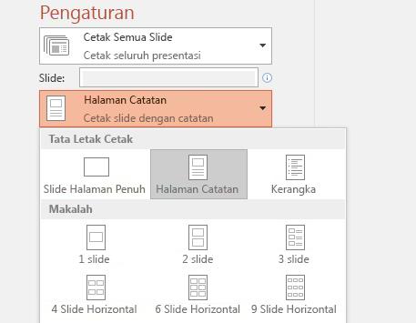 cuplikan layar opsi cetak catatan
