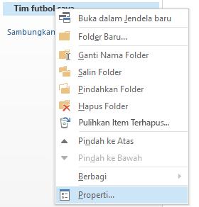 Klik kanan pada folder baru, lalu klik Properti.