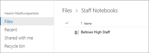 Buka Staff Notebook dari OneNote Online.