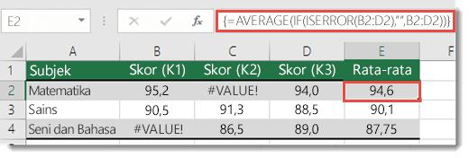 Fungsi array di AVERAGE untuk mengatasi #VALUE! kesalahan