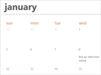 Templat kalender di Excel Online